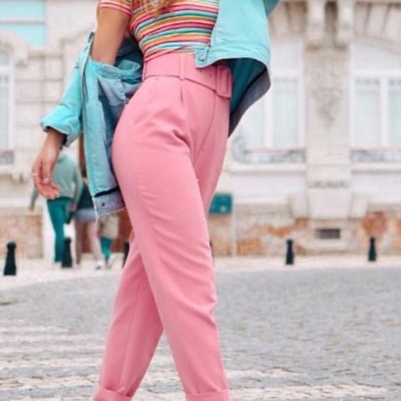 5b74ae41 Zara Pants | Pink With Belt Blogger Fav Nwt | Poshmark